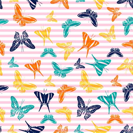 Flying modern butterfly silhouettes over horizontal stripes vector seamless pattern. Baby clothing textile print design. Stripes and butterfly winged insect silhouettes seamless design.