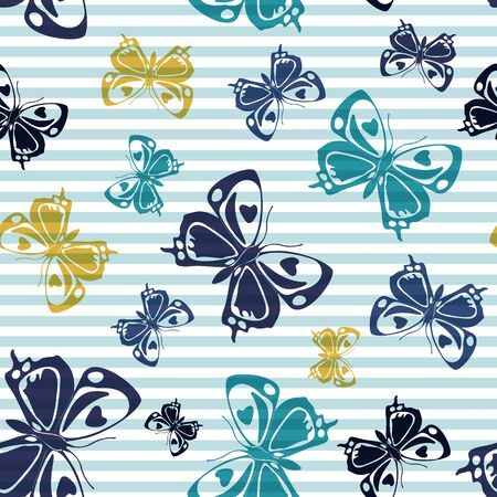 Flying elegant butterfly silhouettes over horizontal stripes vector seamless pattern. Kids fashion textile print design. Stripes and butterfly winged insect silhouettes seamless design.