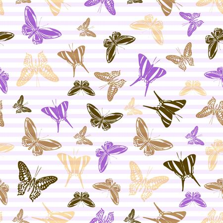 Flying vivid butterfly silhouettes over horizontal stripes vector seamless pattern. Cartoon textile print design. Lines and butterfly garden insect silhouettes seamless wallpaper.