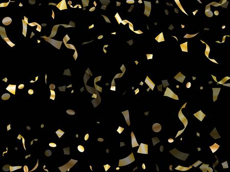 Confettis réalistes brillants d'or volant sur fond de vecteur de vacances noir. Éléments de clinquant volants chics, fond de fête tombant de confettis de serpentins de texture de feuille d'or.