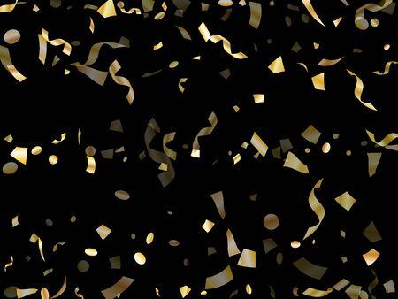 Goldglänzendes realistisches Konfetti, das auf schwarzem Feiertagsvektorhintergrund fliegt. Schicke fliegende Lametta-Elemente, Goldfolien-Textur-Serpentinen-Streamer-Konfetti fallender Partyhintergrund.