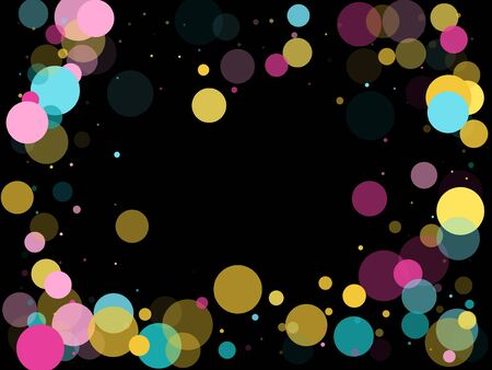 Memphis round confetti falling background in cyan, crimson and gold on black.  Childish pattern vector, childrens party birthday celebration background.  Holiday confetti circles in memphis style.