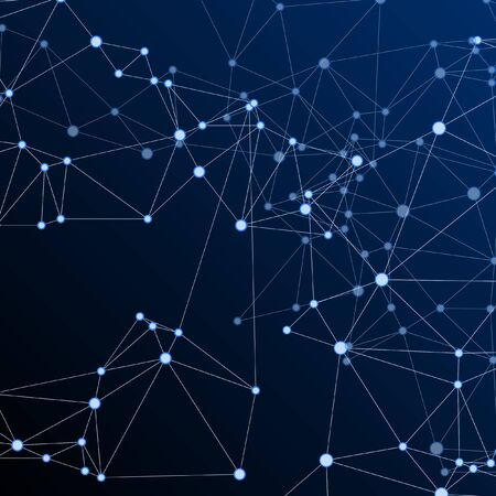 Geometric plexus structure cybernetic concept. Network nodes plexus dark blue background. Coordinates structure grid shape vector. Bionic ai innovations graphics. Nodes and lines polygonal connections 일러스트