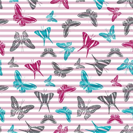 Flying exotic butterfly silhouettes over striped background vector seamless pattern. Baby clothing fabric print design. Lines and butterfly winged insect silhouettes seamless illustration.