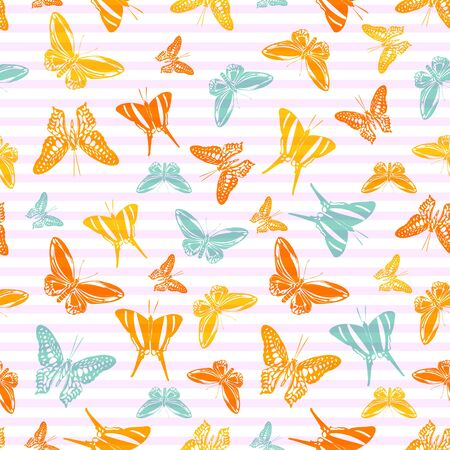 Flying trendy butterfly silhouettes over horizontal stripes vector seamless pattern. Kids fashion fabric print design. Lines and butterfly garden insect silhouettes seamless pattern. Ilustrace