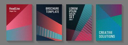 Geometric flyer background vector templates. Educational brochure covers set. School presentation elegant leaflets. Technological 2d backdrops. Bauhaus minimal placard backgrounds.