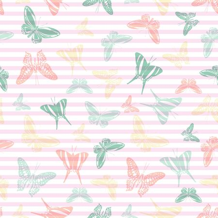 Flying natural butterfly silhouettes over horizontal stripes vector seamless pattern. Girlish fashion textile print design. Lines and butterfly winged insect silhouettes seamless wrapping.