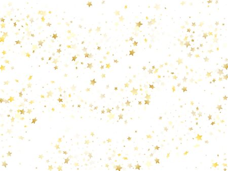Flying gold star sparkle vector with white background. Bright gold gradient christmas sparkles glitter geometric star pattern. Holiday starburst lights pattern.