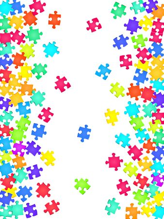 Game brainteaser jigsaw puzzle rainbow colors pieces vector background. Top view of puzzle pieces isolated on white. Challenge abstract concept. Jigsaw gradient plugins. Ilustrace