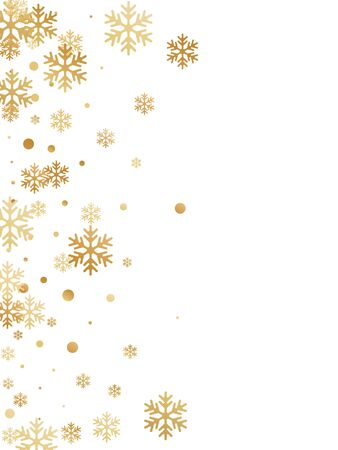Winter snowflakes and circles border vector design. Unusual gradient snow flakes isolated poster background. New Year card border pattern template with flying snowflake elements isolated.