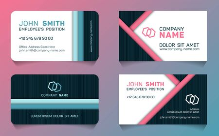 Double sided business card minimal idea vector templates set. Creative business card graphic design with place for logo, company name, employee's position, phone number, website and office address.