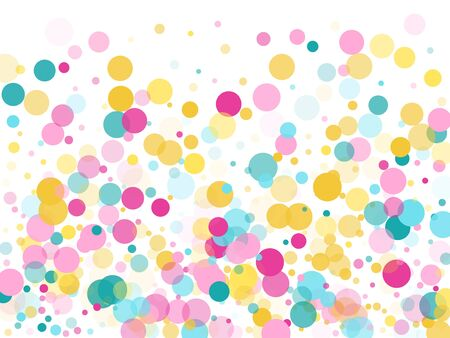 Memphis round confetti trendy background in cyan, crimson and gold on white.  Childish pattern vector, childrens party birthday celebration background.  Holiday confetti circles in memphis style. Çizim