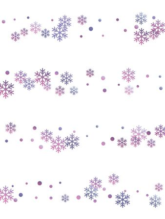 Crystal snowflake and circle shapes vector backdrop. Macro winter snow confetti scatter banner background. Flying gradient snow flakes background, awesome water crystals vector.