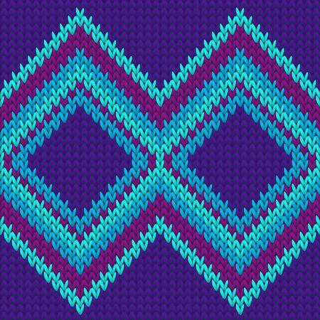 Handmade rhombus argyle knitting texture geometric vector seamless. Fair isle sweater knitting pattern imitation. Winter seamless knitted pattern. Fabric canvas illustration.