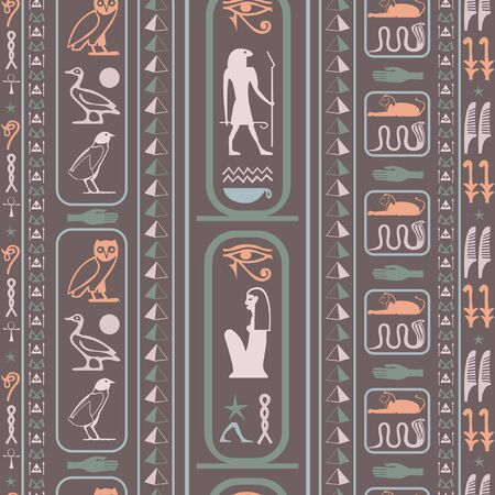 Creative egypt writing seamless vector. Hieroglyphic egyptian language symbols origami. Repeating ethnical fashion backdrop for brochure or booklet. Standard-Bild - 133436436