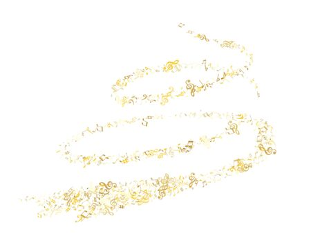 Gold flying musical notes isolated on white backdrop. Luxury musical notation symphony signs, notes for sound and tune music. Vector symbols for melody recording, prints and back layers.