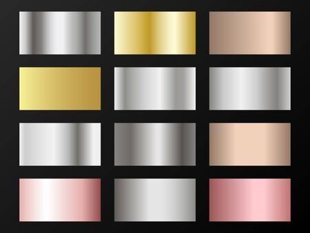 Cool golden, silver, bronze, rose gold gradients. Metallic foil texture silver, steel, chrome, platinum, copper, bronze, aluminum, rose gold gradient swatches.  Shiny metallic swatches collection. Illustration