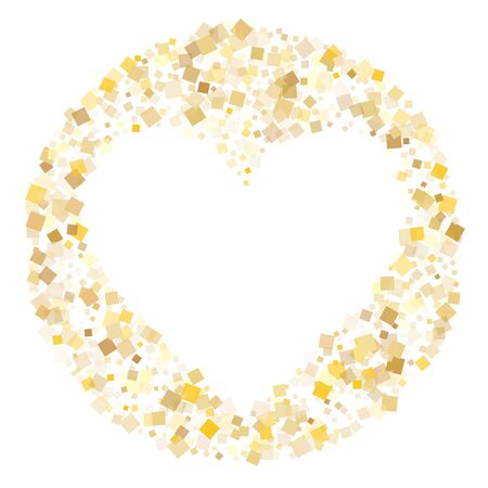 Minimal gold square confetti tinsels flying on white. Rich Christmas vector sequins background. Gold foil confetti party glitter space. Square particles party background.