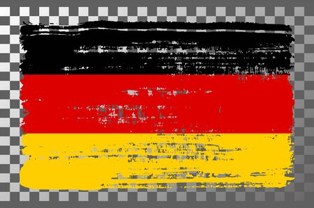 German national flag isolated vector illustration. Travel map design graphic element. World county symbol. German flag icon with grunge texture. Flat flag of Germany