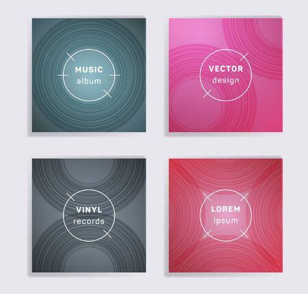 Retro-Vinyl-Schallplatten Musik-Album-Cover eingestellt. Halbkreiskurvenlinienmuster. Bunte kreative Vinyl-Musik-Album-Cover, Disc-Modelle. DJ nimmt geometrische Layouts auf. Banner-Flyer-Karten-Set.