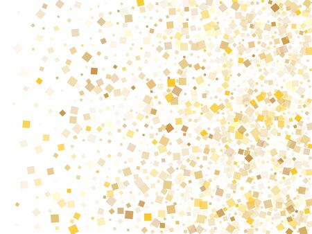Small gold square confetti sparkles falling on white. Glittering Christmas vector sequins background. Gold foil confetti party explosion graphic design. Many particles surprise backdrop.