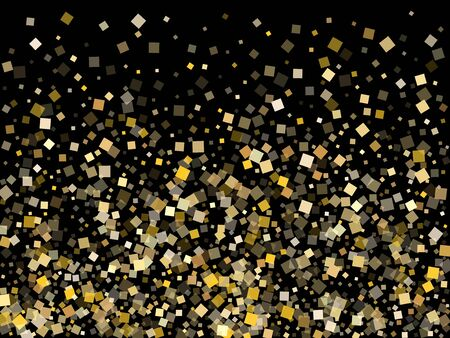 Birthday gold confetti sequins sparkles falling on black. Shiny Christmas vector sequins background. Gold foil confetti party decoration pattern. Light dust sparkles surprise backdrop.