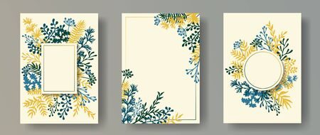Hand drawn herb twigs, tree branches, flowers floral invitation cards set. Plants borders modern invitation cards with dandelion flowers, fern, mistletoe, olive branches, savory twigs.