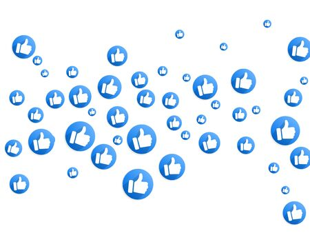Thumbs up social media like icons isolated on a white background. Round blue bubble emoticons for social media chat comment reactions, like thumb up ok emoji message icons, approval symbols