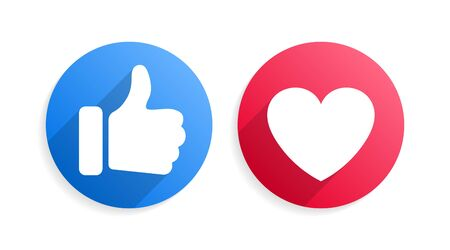 Thumbs up and heart social media like love icons isolated on a white background. Round blue red bubble emoticons for social media chat comment reactions, like love emoji message icons, symbols Vectores