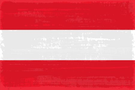 Austrian national flag isolated vector illustration. Travel map design graphic element. Europe county striped symbol. Austrian flag icon with grunge texture. Flat flag of Austria. 일러스트