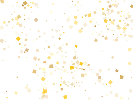 Trendy gold confetti sequins tinsels falling on white. Shiny holiday vector sequins background. Gold foil confetti party particles isolated. Square pieces surprise backdrop.