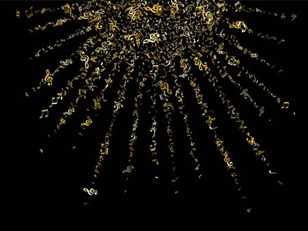 Gold flying musical notes isolated on black backdrop. Stylish musical notation symphony signs, notes for sound and tune music. Vector symbols for melody recording, prints and back layers.