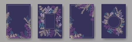 Tropical herb twigs, tree branches, leaves floral invitation cards collection. Herbal corners romantic invitation cards with dandelion flowers, fern, lichen, eucalyptus leaves, savory twigs.