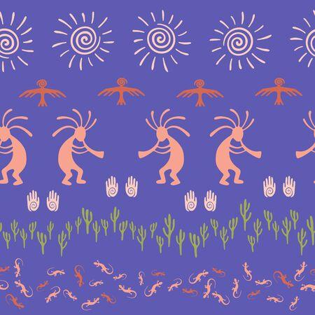 Mexican native american vector ethnic tribal motifs seamless pattern. Traditional design with gecko, Kokopelli fertility god, sun, bird, cacti. Mexican fashionable print pattern. Illusztráció
