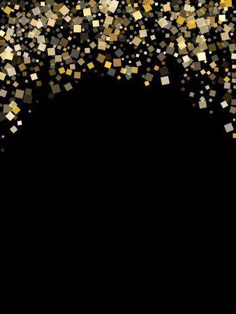 Minimal gold square confetti tinsels flying on black. Rich New Year vector sequins background. Gold foil confetti party particles illustration. Light dust pieces surprise backdrop.