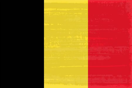 Belgian national flag isolated vector illustration. Travel map design graphic element. Europe county striped symbol. Belgian tricolor flag icon with grunge texture. Flat flag of Belgium
