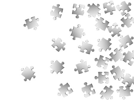 Business mind-breaker jigsaw puzzle metallic silver parts vector illustration. Top view of puzzle pieces isolated on white. Cooperation abstract concept. Connection elements. Иллюстрация