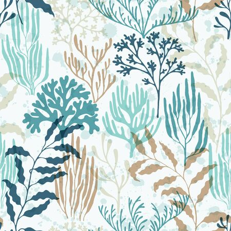 Ocean corals seamless pattern. Kelp laminaria seaweed algae background. Ocean depth undersea bottom coral reef flourish. Underwater plants textile print vector design. Organic botanical pattern. Иллюстрация