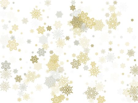Gold silver platinum paper snowflakes flying vector winter background. Geometric stylized falling and flying airy paper snow flakes. Winter seasonal snowflakes conceptual macro elements.