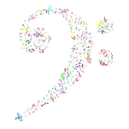 Colorful flying musical notes isolated on white backdrop.  Child musical notation symphony signs, notes for sound and tune music. Vector symbols for melody recording, print design or back layers. Çizim