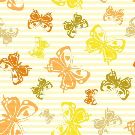 Flying natural butterfly silhouettes over striped background vector seamless pattern. Cartoon textile print design. Lines and butterfly winged insect silhouettes seamless wrapping. Illusztráció