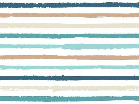 Dibujado a mano a rayas de fondo vintage de patrones sin fisuras para marinero. Rayas de tinta en vector de estilo acuarela. Fondo de textiles de lino de textura de moda moderna. Cool patrón de rayas sin costuras. Ilustración de vector