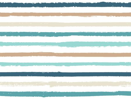 Hand drawn striped seamless pattern vintage background for sailor. Ink stripes in watercolor style vector. Modern fashion texture linen textile background. Cool seamless striped pattern. Vektoros illusztráció