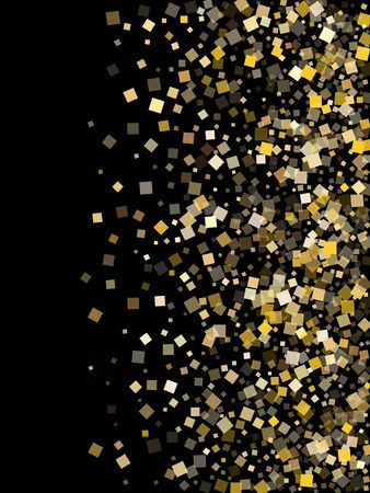 Chaotic gold square confetti sparkles falling on black. Luxurious holiday vector sequins background. Gold foil confetti party pieces texture. Square particles party background.