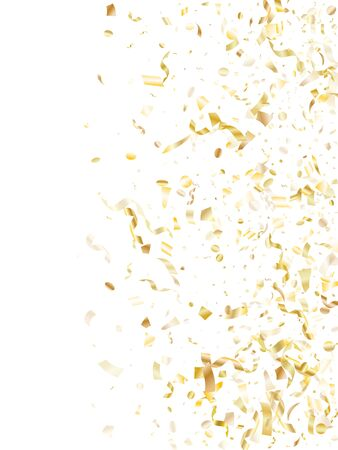 Gold shiny confetti flying on white holiday poster background. Creative flying sparkle elements, gold foil texture serpentine streamers confetti falling xmas background.