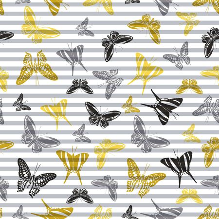 Flying romantic butterfly silhouettes over horizontal stripes vector seamless pattern. Kids fashion textile print design. Lines and butterfly garden insect silhouettes seamless pattern.