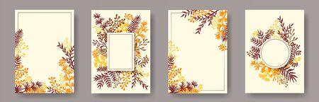 Brindilles d'herbes dessinées à la main, branches d'arbres, modèles de cartes d'invitation florales. Cartes d'invitation élégantes de couronne de bouquet avec des fleurs de pissenlit, fougère, gui, feuilles d'olivier, brindilles de sauge. Vecteurs