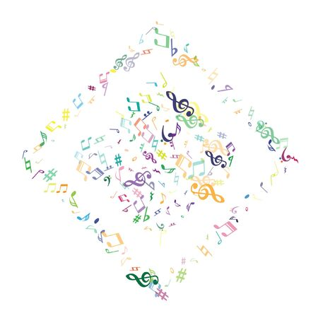 Colorful flying musical notes isolated on white background. Childish musical notation symphony signs, notes for sound and tune music. Vector symbols for melody recording, print design or back layers.