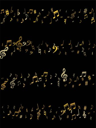 Gold flying musical notes isolated on black background. Stylish musical notation symphony signs, notes for sound and tune music. Vector symbols for melody recording, prints and back layers.