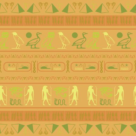 Trendy egypt writing seamless vector. Hieroglyphic egyptian language symbols template. Repeating ethnical fashion design for marketing purpouses.